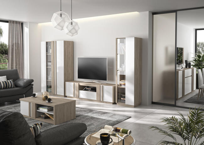 Meble do salonu w skandynawskim designie Aston oak, white